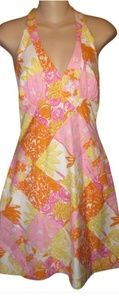 Lilly Pultizer Floral owl & bee halter dress EUC